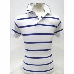 Polo Neck White, Blue Mens Blue & White T-Shirt, Packaging Type: Packet