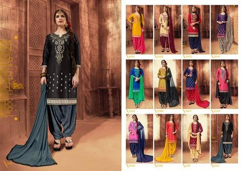 Silk Embroidered Patiala Suits