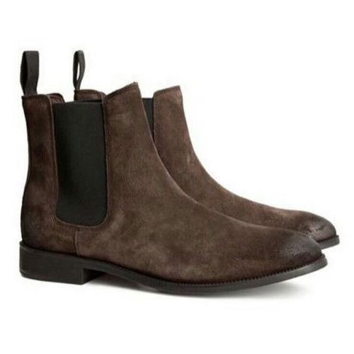 1d46e317505f Brown Suede Leather Chelsea Boots