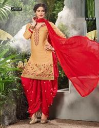 fb040b9da6 Casual Wear Beige & Red Embroidered Dhoti Style Cotton Salwar Kameez ...