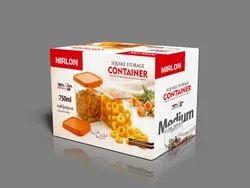 Nirlon Square Container Set Of 2 ABS Plastic 750 ml Food