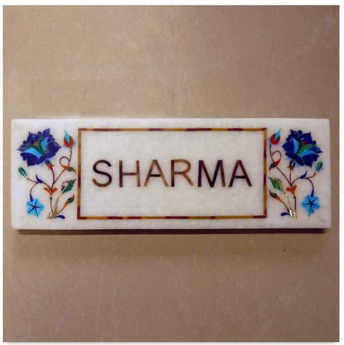 Blue Streak Marble Inlay Name Plate, Bungalow Name Plates - Engrave ...