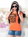 Ladies Orange Printed Half Sleeve T-shirt