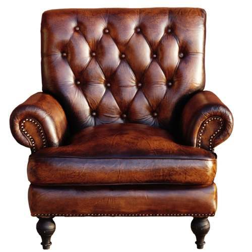 Captivating High Back Story Brown Leather Armchair