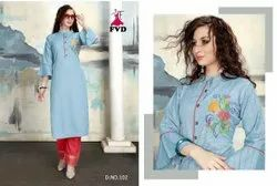 Fancy Rayon Kurti With Plazzo