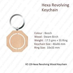 Wooden Keychain-KC-19-Hexa Revolving Keychain