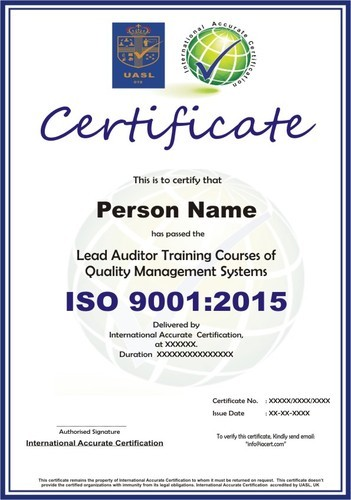 Lead Auditor and Internal Auditor Training - ISO 9001:2015