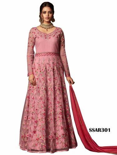 e35fd48f18d Pink Net Anarkali Indian Salwar Kameez