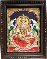 Shyam Art Works Lord Lakshmi 3d Embossed Tanjore Painting