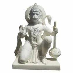 Plain White Marble Hanuman Statue
