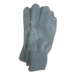 Plain Acrylic Woolen Grey Gloves, Packaging Type: Packet, Size: S-xxl