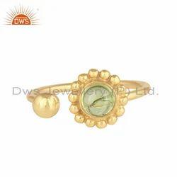 Natural Peridot Gemstone Designer Wholesale Gold Plated Silver Rings