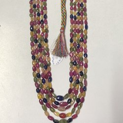 Glass Filled Multi Sapphire Stone Faceted Oval Beads Strand Necklace