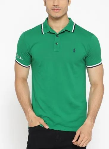 Cotton Green Solid Polo Collar T-Shirt