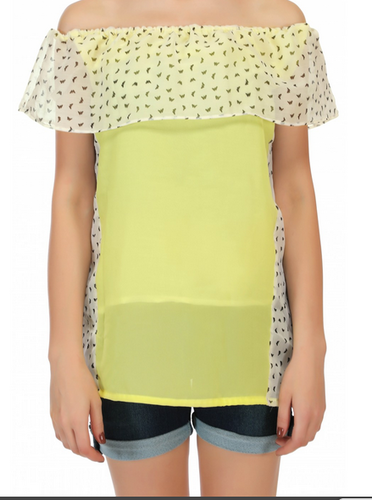 f2d023f1c01365 Light Yellow Fashionoma Casual Off-Shoulder Yellow Top