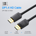 Black Vention Display Port Cables 3 Mtr