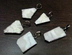 White Agate Slice Pendant