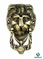 Antique Brass Finish Lion Face Door Knocker