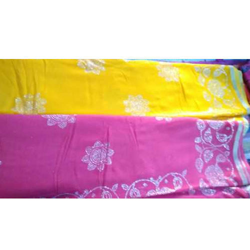 Yellow And Pink Casual Ladies Designer Georgette Saree, 5.5 M (separate Blouse Piece)