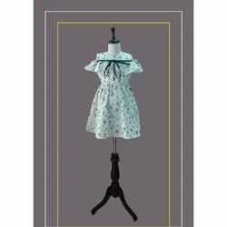 Printed Cotton Girl Front Bow Summer Frock, Size: 16 to 40