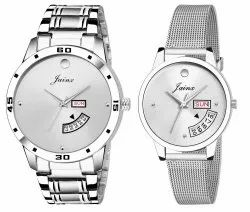 Jainx Silver Day and Date Analog Couple Watch JC452