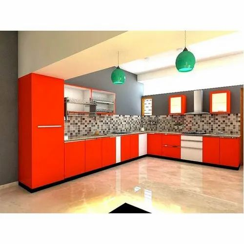 Orange And White Pvc Modular Kitchen Cabinet Rs 1150 Square Feet Ananya Interiors Id 20453079262