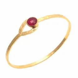 Designer Dyed Ruby Gemstone Micron Gold Plated Bracelet