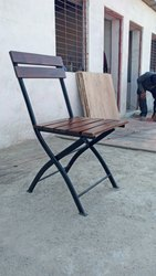 Jaymaya & co. Black Wrought Iron Folding Chair for Outdoor