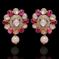 925 Sterling Silver Polki Gold Plated Studs Earrings With Ruby And Pearl