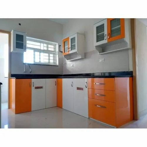 Orange And White L Shape Wooden Kitchen Cabinet Rs 1250 Square Feet G R Decors Id 21976034512