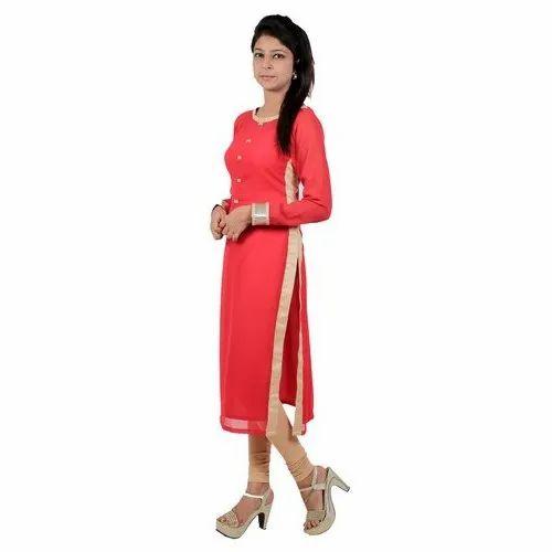 c9152200ffef Red Plain Ladies Georgette Kurti, Rs 375 /piece, M/s Kittus Fashion ...
