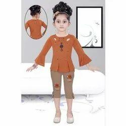 Cotton Plain Baby Casual Wear Capri Set