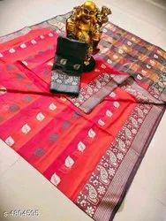Banarasi Silk Traditional Wear Multicolor Sarees With Blouse Piece