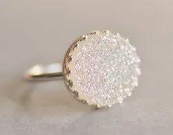 Sterling Silver White Druzy Ring