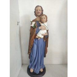 Standing Fiber Poly marble St. Joseph Statue, For Gifting, Packaging Type: Box