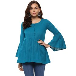 Yash Gallery Women's Cotton Slub Solid Top