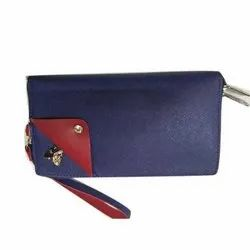 Blue and Red Polyurethane Ladies Hand Clutch, Size: 10 X 4 Inch