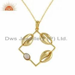 Handmade Cowrie Design Gold Plated Silver Mother of Pearl Necklace