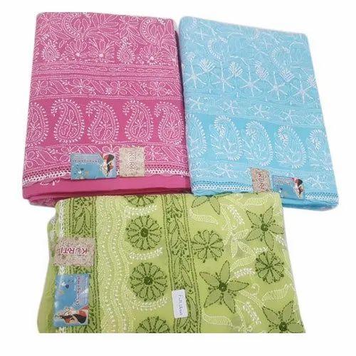 Embroidered Cotton Ladies Unstiched Chikan Kurti, Machine wash, Size: 38-44 Inch