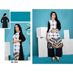 Stylish Digital Printed Rayon Crepe Kurti