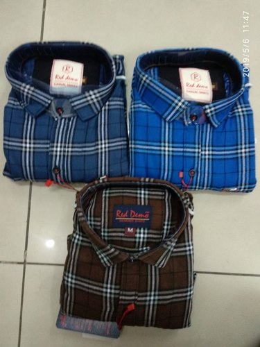 Casual Wear Cotton Chex Shirt, Size: M