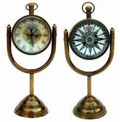 Nautical Maritime Antique Table Clock With Brass Stand Hanging Desk Decor Watch