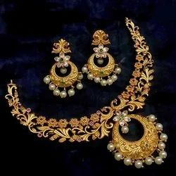 Party Fashion High Gold Necklace Sets, 1 Necklace, 1 Pair Earring