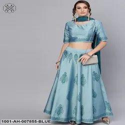 Blue Block Printed Lehenga Choli With Dupatta