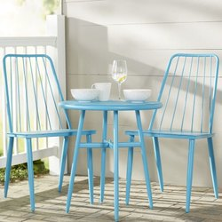 Table And 2 Chair Blue Metal Outdoor Cafe Set, Size: 60*60*75 Table And 45*45*90cm, Seating Capacity: 2 And 4