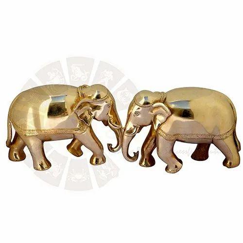 Golden Brass Elephant for Exterior Decor