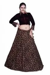 Dark Brown Fancy Crop Top