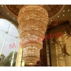 Long Hanging Crystal Chandelier