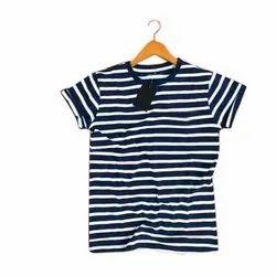 Round Blue & White Mens Half Sleeves Cotton T-Shirt