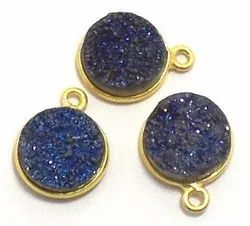 Druzy Round Shape Bezel Gemstone Connectors
